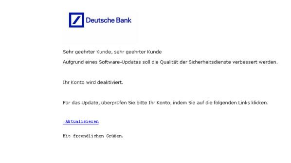 Deutsche Bank Kreditinstitut Warnt Nutzer Vor Neuen Phishing Mails