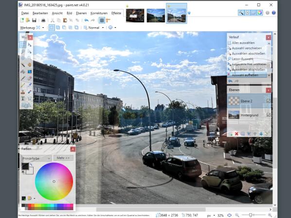 Bildbearbeitung hintergrund transparent paint