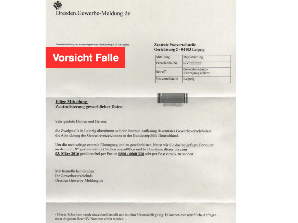 Warnung: Anschreiben von gewerbe-meldung.de ist eine Falle - NETZWELT