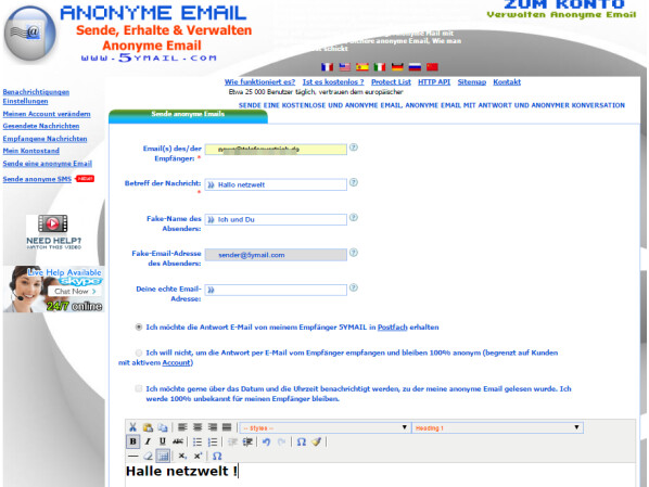 ANONYME EMAIL SENDEN