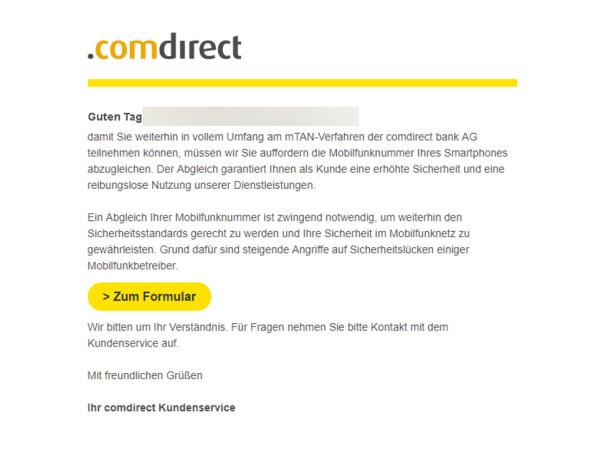 comdirect bank warnt vor gef hrlichen phishing mails. Black Bedroom Furniture Sets. Home Design Ideas