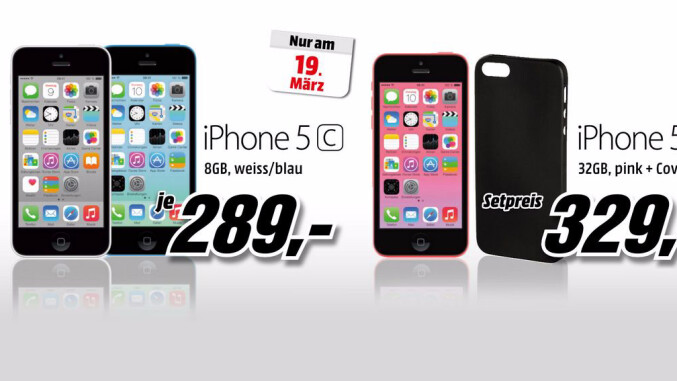 iphone 5c f r 290 euro mediamarkt kontert hofer angebot. Black Bedroom Furniture Sets. Home Design Ideas