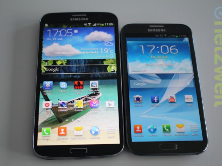 Gegen das Galaxy Mega (links) wirkt selbst das Galaxy Note II wie ein Winzling.
