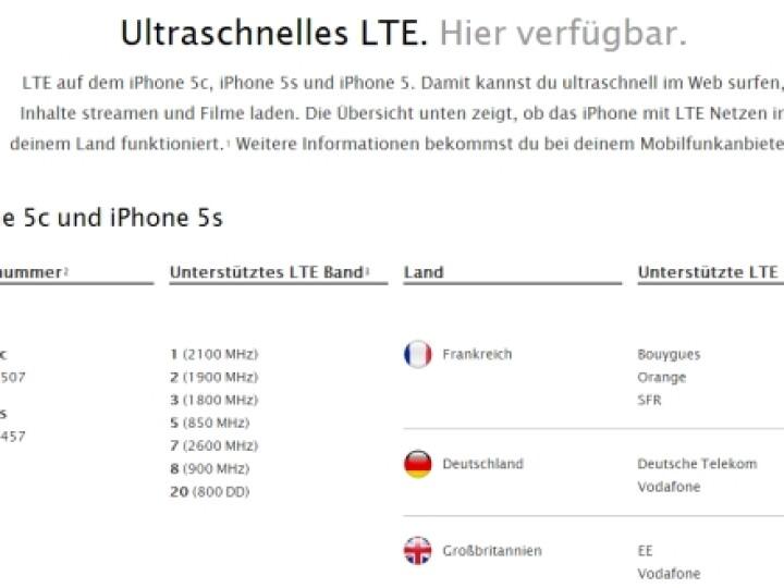 iPhone 5S und iPhone 5C unterstützen vorerst LTE in Deutschland nur im Netz der Telekom und Vodafone. Technisch ist das O2-LTE-Netz aber ebenfalls kompatibel.