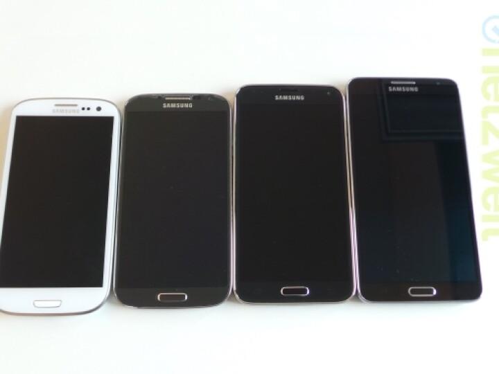 Das Galaxy S5 (zweites von rechts) ähnelt eher dem Note 3 Neo (rechts) als seinem Vorgänger Galaxy S3 (links) und Galaxy S4 (zweites von links).