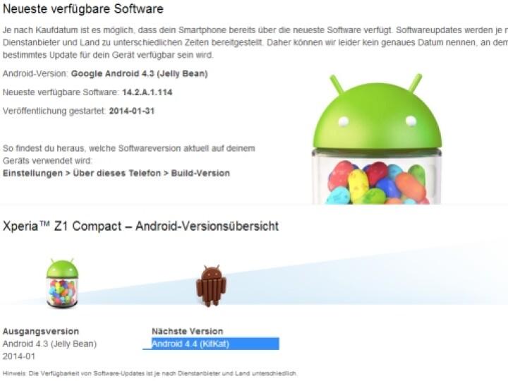 Das Xperia Z1 Compact wird ein Update auf Android 4.4 KitKat erhalten. Nur wann, verrät Sony noch nicht.