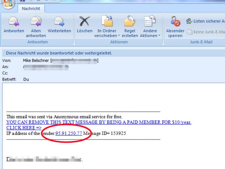 Anonyme e mail adresse