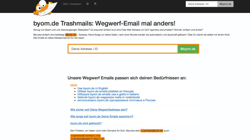 fake email adresse