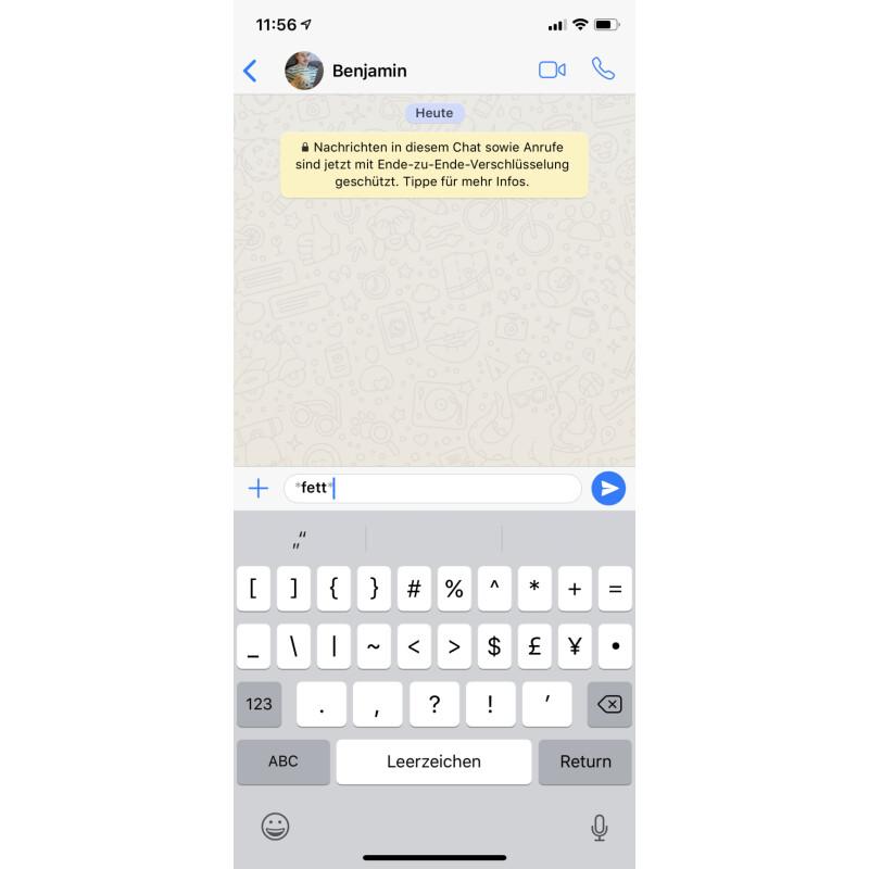 dick schreiben whatsapp