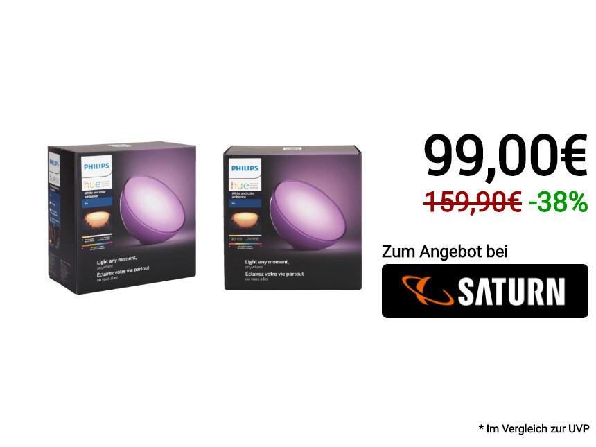 Philips Hue Go White & Color Ambience: Bei Saturn im Doppelpack zum Hammerpreis