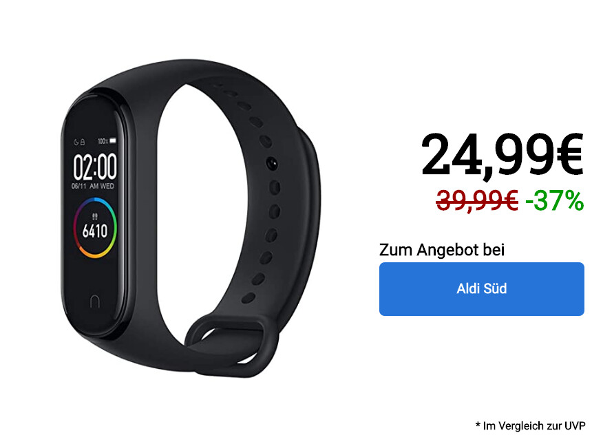 """Xiaomi Mi Band 4 is sold at AldiSüd for 25 Euros. """"Width ="""" 860 """"Height ="""" 645 """"Hierarchy ="""" reset"""