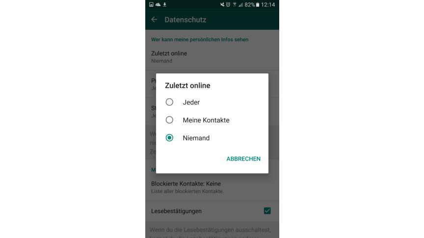 Whatsapp letztes mal online wird nicht angezeigt