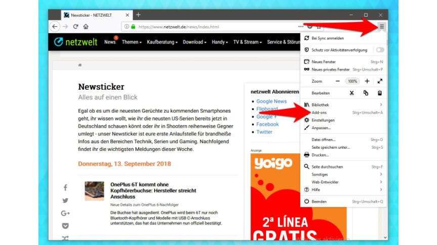 Firefox Erweiterungen Deinstallieren