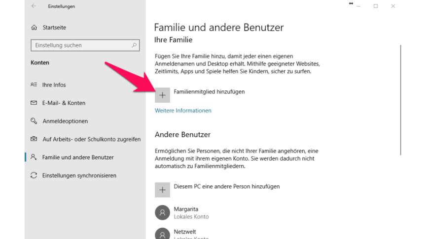 Windows 10 Kindersicherung