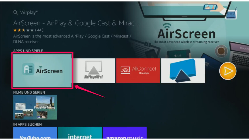 Apple AirPlay: Amazon Fire TV mit Streaming-Apps erweitern