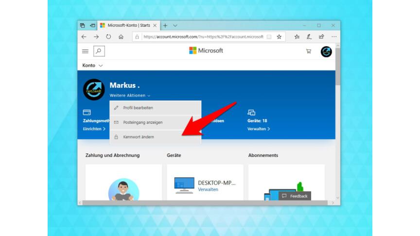 microsoft konto passwort ändern