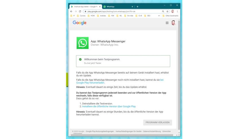 01.2 WhatsApp: salir del programa de prueba beta