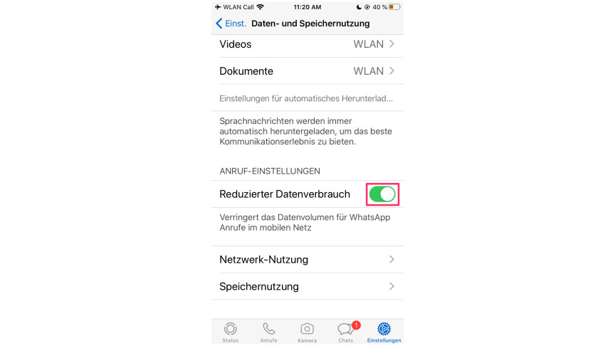 Whatsapp Reduzierter Datenverbrauch