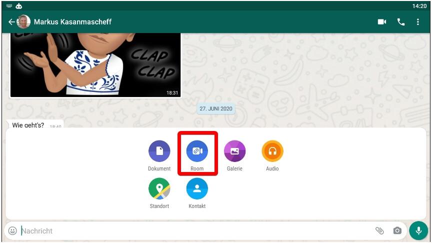 Whatsapp Room Statt Kamera