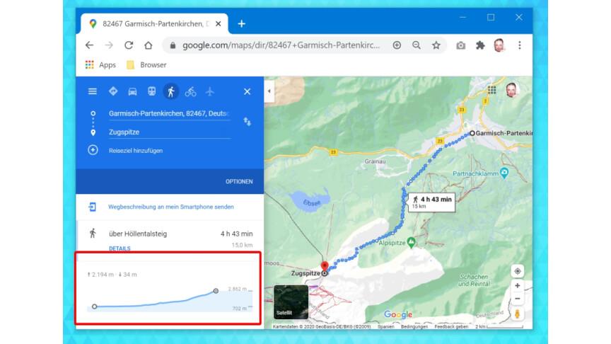 Google Maps Höhenprofil