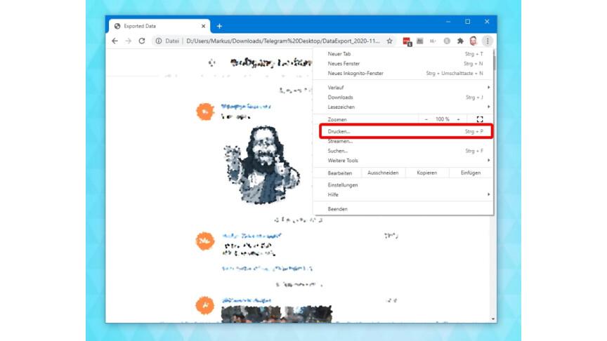 Telegram Chats Speichern