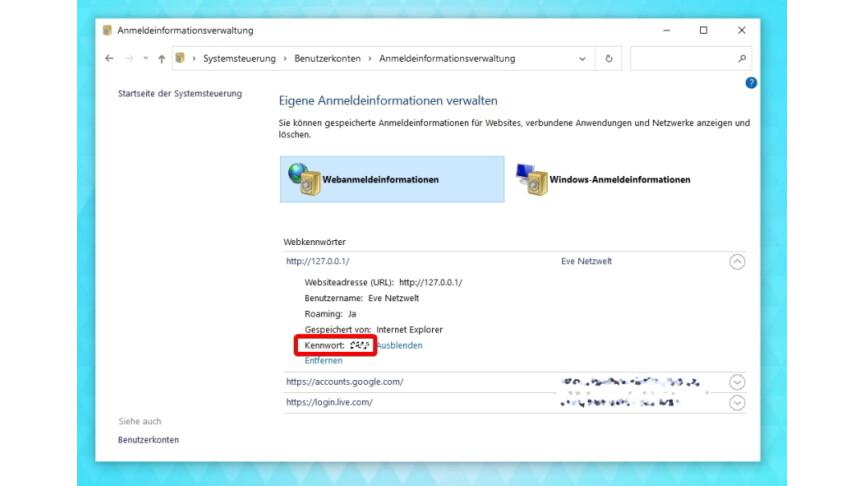 Windows 7 Passwörter Anzeigen