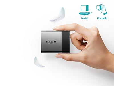 Samsung T1 Bild, welches das leichte Gewicht symbolisiert