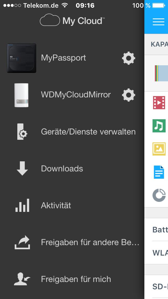 iOS-App My Cloud Oberfläche Sidebar