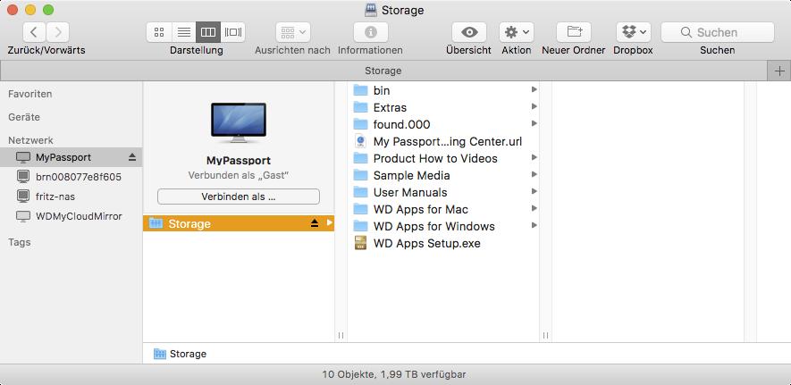 My Passport Wireless Pro Dateistruktur