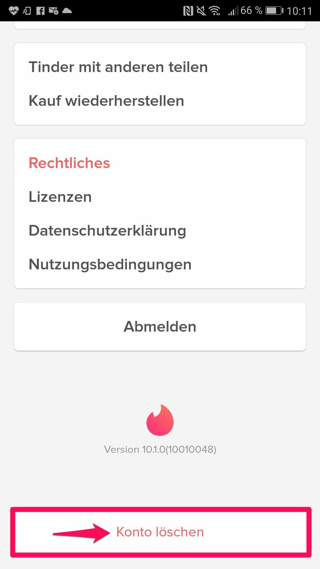 Flirten und Haken App löschen