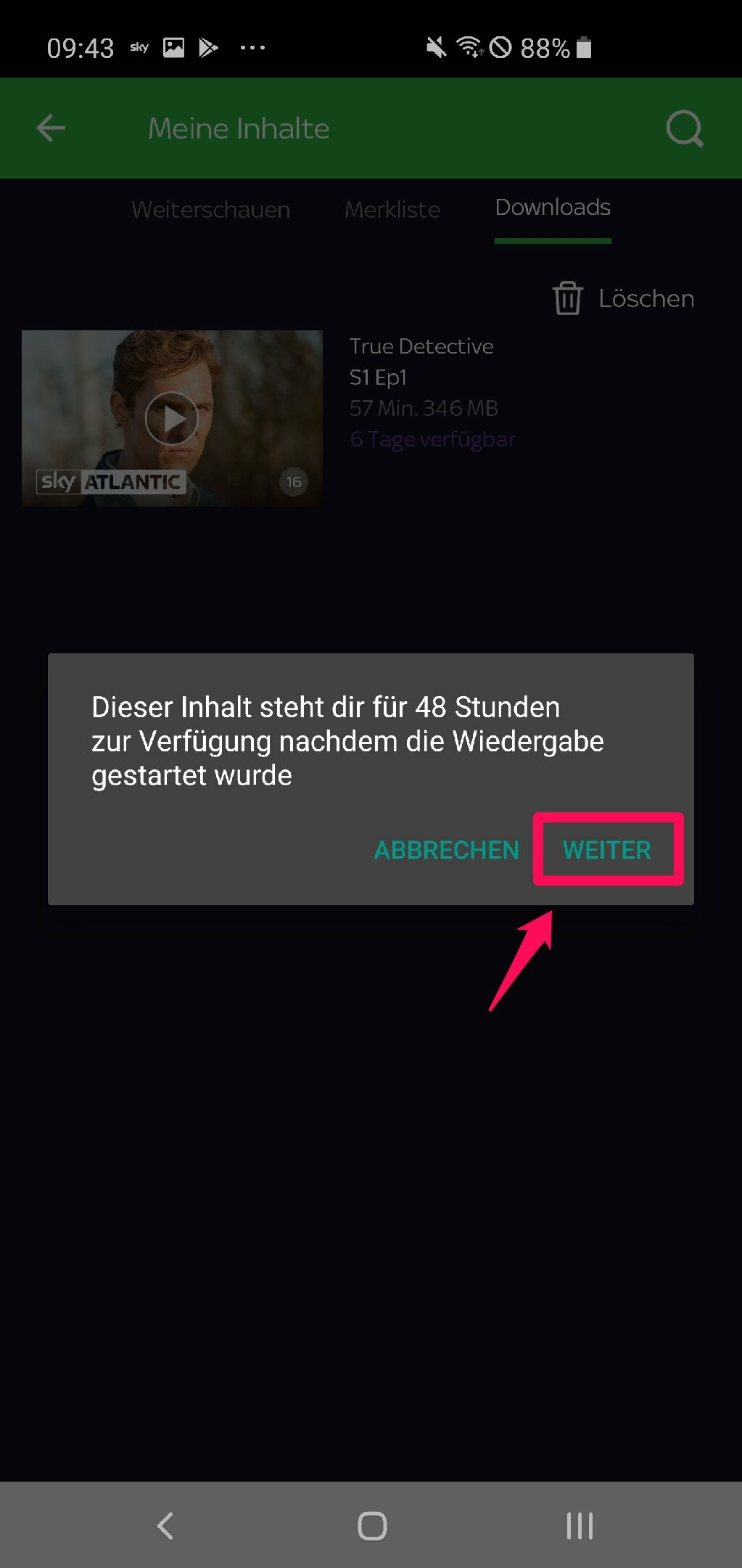 sky ticket app download löschen